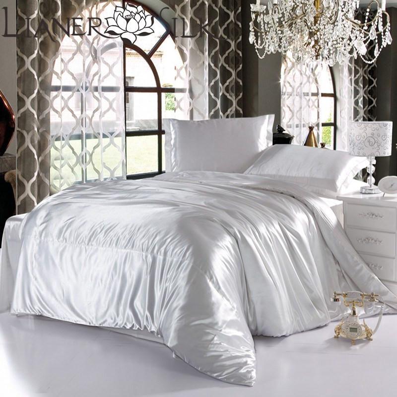 Luxo Withe Consolador Define 70% Seda Mulberry colcha de cama em um saco de roupas de cama 4pc rei / rainha / Full Twin tamanho Freeshipping /(China (Mainland))