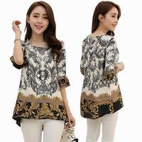 100% New Design 2014 Summer  Empire Printed Chiffon Blouse Plus Size Women Shirt Top Vintage blusas XL XXL XXXL 4XL 5XL