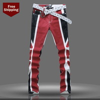2014 new spring and Autumn menswear hot sales men painted thin stretch pants men jeans trousers Pattern Painted Jeans