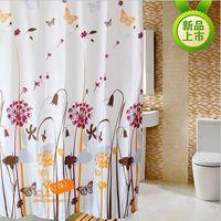 Polyester Creative dandelion pattern Waterproof mildew bathroom shower curtain with metal buckle