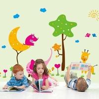 1 set/lot New 2014 kids room cartoon animals elephant and giraffe wall stickers Nursery classroom wall decals free shipping