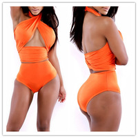 2014 High Waist Brazilian Bikini Set Swimsuit Women Push up Swimwear Crochet Bathing Suits Plus Size New Vintage Sexy bikini