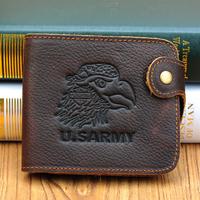 Special design men's vintage oil leather Wallet with hasp crazy leather horse wallets for men short purse men