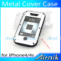 Silver Metal Waterproof Dustproof Shockproof Metal Cover Case for iPhone4/4S Powerful