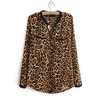New fashion Women Wild Leopard print chiffon blouse Long-sleeve V neck top shirt  EB-4