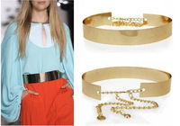 Women Full Metal Mirror Waist Belt Metallic Gold Plate Wide Obi Band With Chains FREE SHIPPING