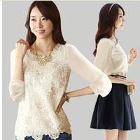 2014 NEW Women's Chiffon Long sleeve Loose Casual Blouses Shirt tops EB-3
