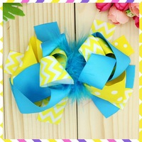 6'' Free shipping dots chevron Ribbon Bows with hair clip headband headwear hairbow diy decoration wholesale OEM P3038