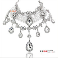 Free shipping Wedding Necklace multi-layers pearl bridal necklace Rhinestone drill  with earrings