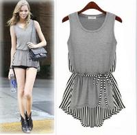 Women Stripes Splicing Sleeveless Shirt Blouse Tops w/ Sash Asymmetric Hem EB-6