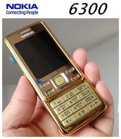 Luxurious Nokia  gold 6300 Original unlocked 6300 Nokia Mobile Phone have English keyboard and Russian keyboard free shipping