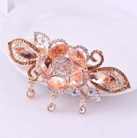 FreeShipping ( 3 pcs/lot )Filigreed Rose Crystal Hair Jewelry For Girls Fashion Rhinestone Charm Hair Clip