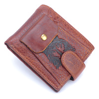 2014 new retro 100% genuine leather men's wallet with removable card holder head cowhide vintage pattern purse free shipping