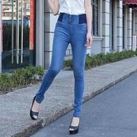 2014 new fall European Style denim elastic skinny thin high waist jeans pencil pants Full Size S~4XL  8865