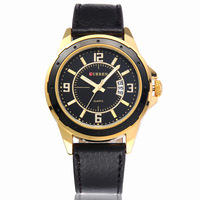 Fashion Curren Black Genuine Leather Strap Analog Display With Date Men Watch Top Brand Luxury Watch