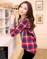 Fashion Women Plaids & Checks shirt Long Sleeve Casual Tops Tee Shirt Blouse EB-5