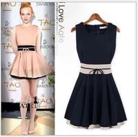 2014 New Star Of The Same Paragraph,Summer Women's Chiffon Vest Dress , Sleeveless Dress Sweet Waistband