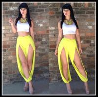 New Hot Fashion clothing set cozy casual elegant girls clothing sets Nibbuns sexy irregular pants yellow white patchwork vest WA