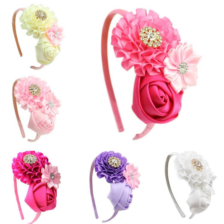1 pieces new Baby Girl Ruffles pink Flower Hairband kids Headband Girl's Hair Accessories children accessories(China (Mainland))