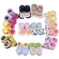 1 Pair New Cute Newborn Cotton Baby Unisex Indoor Anti-slip Warm Lovely Animal Cartoon Socks For 0-6 months12 Colors