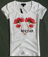 Hot Sell Women's Tops Fashion 2014 Women Clothing Flower Logo Printing T-shirt Slim Style Varied Color