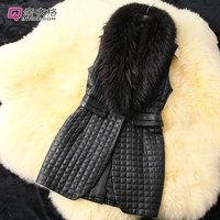 High brand women's winter PU leather Fur collar vest Free shipping S/M/L/XL/XXL/XXXL