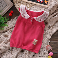 2014 Hot fashion lace sleeveless vest sweater girls baby children kids cute pretty beautiful cotton sweaters vests