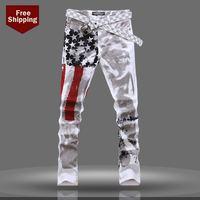Jeans for men skinny jeans Hot 2014 new men's American flag jeans Slim skinny logo Trousers size 27-40 Free shipping