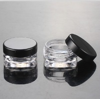 Free shipping  3g small square  sample  cream plastic  bottle jar pot container black lid  for cosmetic packaging  3ml 100pc/lot