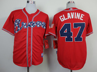 Cheap 2014 Men's Baseball Jersey Atlanta Braves #47 Tom Glavine Baseball Shirt,Embroidery Logos,Size M-XXXL
