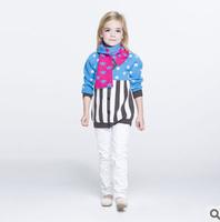 2014 new autunm  girls long dress kids blue stripe dress girls fashion star cloth