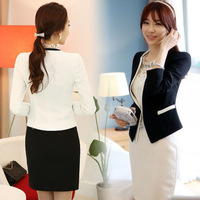 #821#2014 New Fashion Winter Women Slim Blazer Coat Casual Jackets V-Neck Black White One Button Suit OL Outerwear