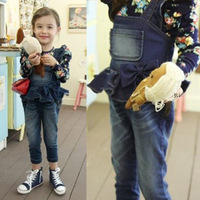 2014 new spring girl overalls  cute bow Slim Child  denim trousers