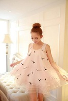 2014 summer Couture pettiskirt new vest skirt embroidered flowers loose sleeveless dress
