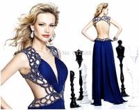 New Arrival Fashion Style A-line V-Neck Sleeveless Beading Bare Back Floor Length Sexy Customized Long Prom Dress 2015