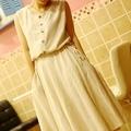 ON SALE! Vintage sweet fresh fluid drawstring solid color tank dress one-piece dress