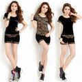 ON SALE! Velvet 2014 short-sleeve T-shirt shorts casual sports set female fashion gold velvet sportswear