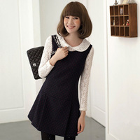 2014 Sale and Free shipping Spring autumn cute slim dress sleeveless Dot Fashion women dresses J2093