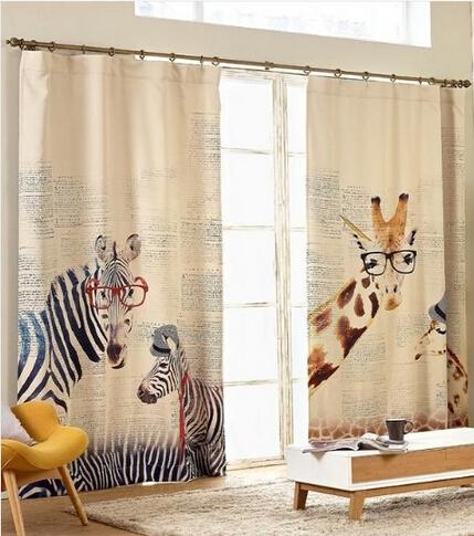 Free shipping Modern Style Zebra giraffe linen curtain for kids living room, balcony, study(China (Mainland))