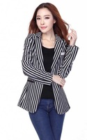 #825#Free Shipping 2014 new arrival spring fashion women coat OL striped outerwear