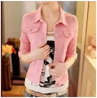 2014 Summer New Korean Temperament Outerwear Candy-colored Denim Jacket Short Sleeve Jacket denim Jacket High Quality
