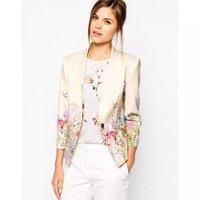 Floral print blazer women casual cardigans blaser 2014 new fashion chaquetas mujer vestidos femininos long sleeve Blazers