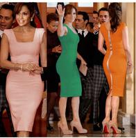 Hot Sale 2014 Newest Women Elegant Summer Sleeveless Square Collar Back Full Zipper Bodycon Knee-Length Party Pencil Dresses