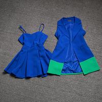 New Arrival 2014 Autumn Europe Fashion Brand Women Lady Elegant Contrast Color Vest + Dress Suit 2 Pcs Clothes Set Freeshipping