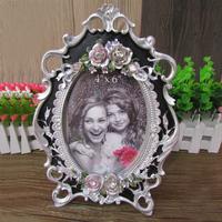 Fashion 6 photo frame swing sets home decoration vintage rustic resin rose elliptic photo frame photo frame