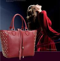 Autumn Winter New Arrival Women Ladies European Brand Fashion Rivets Tassel Real Leather Cowhide Handbag Tote Bag Freeshipping