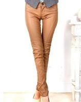 2014 new autumn European style women pants PU pencil pants trousers women free shipping y71989