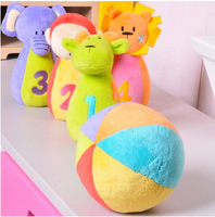 Hessie baby bowling 4 pcs Animal toy pp cotton Stuffed Plush Toy With Rattle toys Inside Soft Ball educational toys