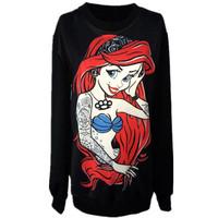 2015 Winter Ladies New Fashion Clothes Hoodies.Red Hair Mermaid Printed Sweatshirt.Punk Style Casual Coat Woman Sexy Tops TShirt