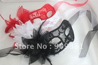300pcs/lot Black Scottish Lace Hollow with side Calla lily flower Halloween Venice Dance party mask free shipping